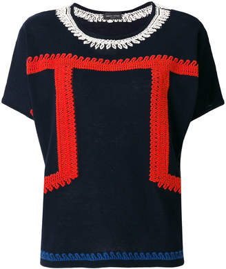 Roberto Collina embroidered short-sleeve top