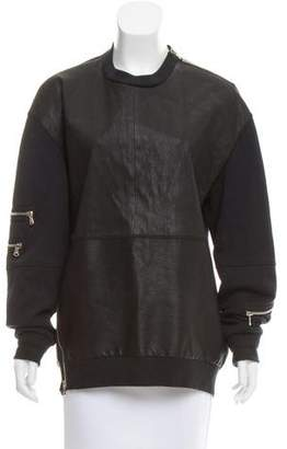 3.1 Phillip Lim Leather Long Sleeve Sweatshirt