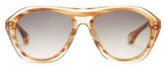 Blake Kuwahara - Renwick Acetate Aviator Sunglasses - Mens - Brown Multi