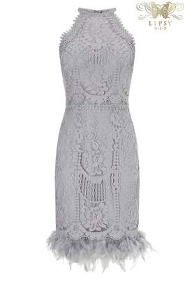 Next Lipsy VIP Lace Embroidered Feather Hem Dress - 4