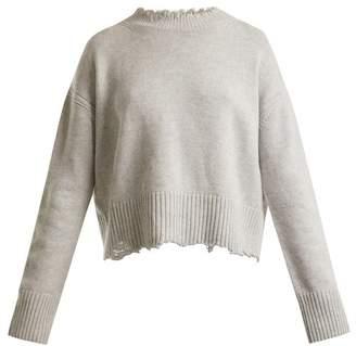 Helmut Lang Oversized Distressed Wool Blend Sweater - Womens - Light Grey