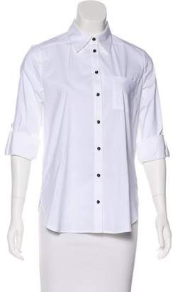 Alice + Olivia Embroidered Button-Up Top