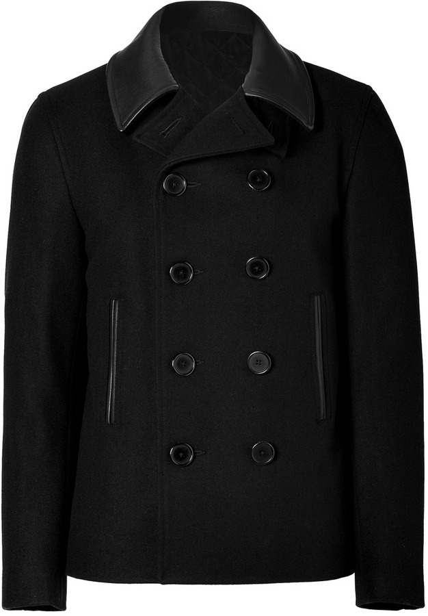 Sandro Black Wool Jacket with Leather Collar
