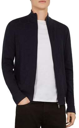 Ted Baker Rarva Honeycomb Funnel-Neck Zip Cardigan Sweater