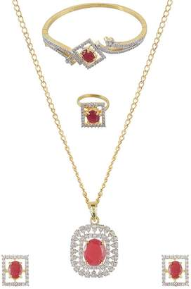 My DT Lifestyle american diamond gold metal full jewellery set AJFS10