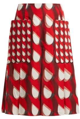 Bottega Veneta - Geometric Print Cotton And Linen Blend Midi Skirt - Womens - Red White