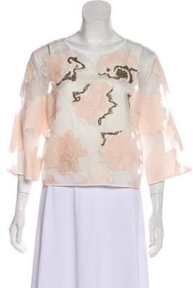 Tibi Chiffon Embellished Blouse