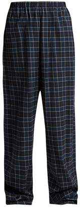 Balenciaga Brushed Cotton Checked Trousers - Womens - Black Blue