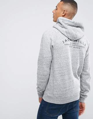 Jack Wills Ederton Zip Through Hoodie With Back Print In Grey