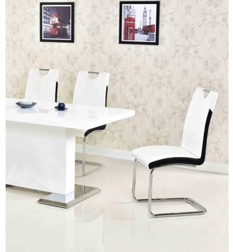 Best Master Furniture Melrose White Faux-Leather Dining Chairs with Chrome Legs (Set of 2)