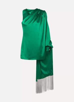 Hillier Bartley One-shoulder Draped Silk-satin Blouse - Green