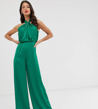Asos Tall EDITION Tall ruched halter neck jumpsuit