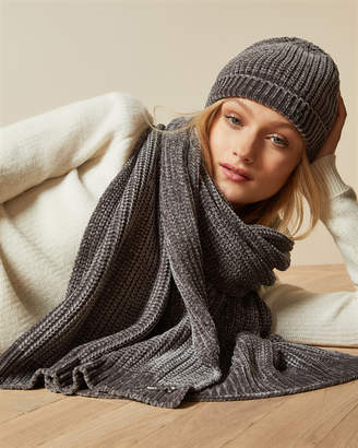 Ted Baker HUDAH Knitted chenille hat and scarf set