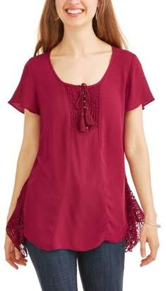 Cherokee Women's Gauze Peasant Top With Crochet