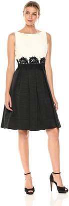 Eliza J Women's Fit and Flare Dress with Trim Waist, Ivory/Black