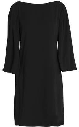 Halston Embroidered Chiffon-Paneled Crepe Mini Dress