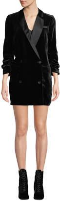 Joie Albertyne Double-Breasted Velvet Tuxedo Dress
