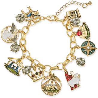 Charter Club Holiday Lane Gold-Tone Crystal, Stone & Epoxy Holy Christmas Story Charm Bracelet