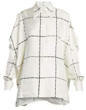 Victoria Beckham Scarf-Detail Check Silk Blouse