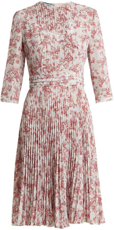 PRADA Floral-print pintucked and pleated crepe dress