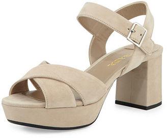 Prada Crisscross Suede Platform Sandal $670 thestylecure.com