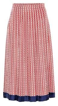 Valentino Printed silk midi skirt
