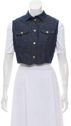 In God We Trust Denim Cropped Vest