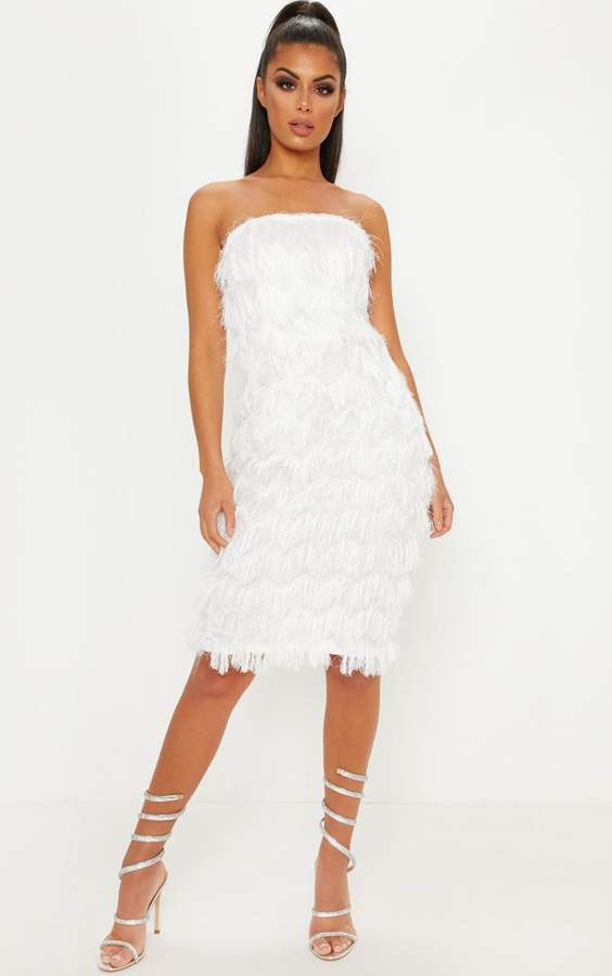 White Chevron Fringed Bandeau Midi Dress