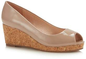 4d244400fec Lotus - Natural Patent  Odina  Mid Wedge Heel Peep Toe Shoes