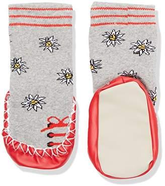 Playshoes Girl's Hüttenschuhe Edelweiß Knee-High Socks, Grey (Grau/melange)