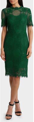 Cap Sleeve Green Lace Dress