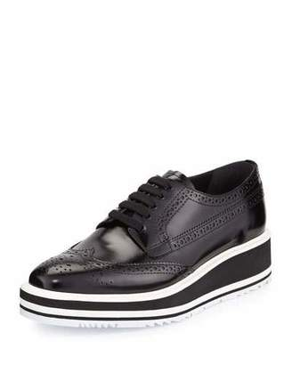 Prada Platform Brogue-Trim Leather Oxford, Nero $975 thestylecure.com