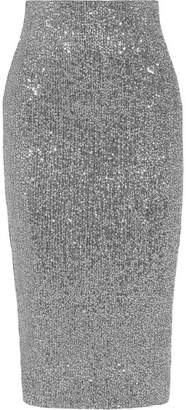 Rebecca Vallance Andree Sequined Tulle Midi Skirt - Silver