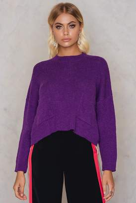 NA-KD Na Kd Front Pockets Knitted Sweater Purple