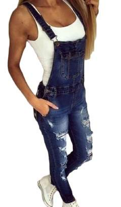 LEISHOP Womens Ripped Hole Bib Overall Jumpsuit Casual Jeans Pants XS
