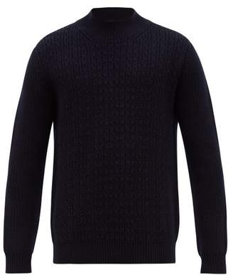 Altea Cable Knit Wool Sweater - Mens - Navy
