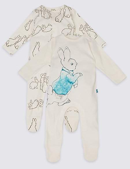 2 Pack Peter RabbitTM Pure Cotton Sleepsuits