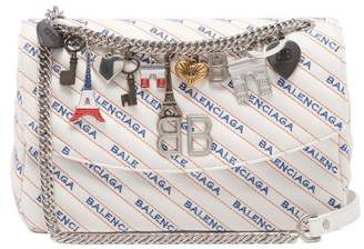Balenciaga Bb Round M Leather Bag - Womens - White Multi