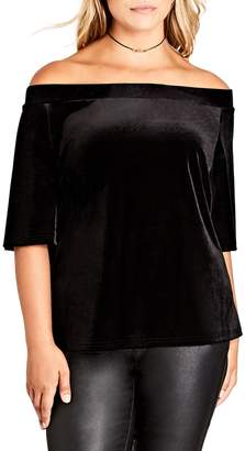 City Chic Stretch Velvet Off the Shoulder Top