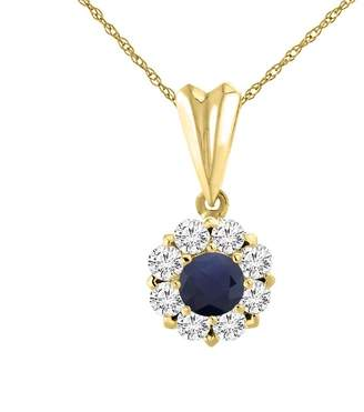 Sabrina Silver 14K Yellow Gold Natural HQ Sapphire Necklace with Diamond Halo Round 4 mm