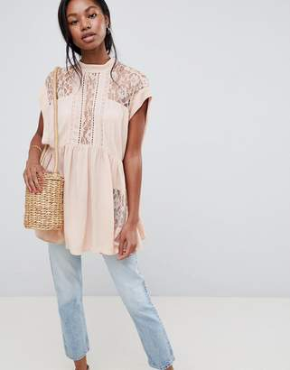 Asos Design DESIGN Oversized Sleeveless Tunic With Lace Inserts