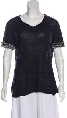 Tory Burch Short Sleeve Scoop Neck T-Shirt