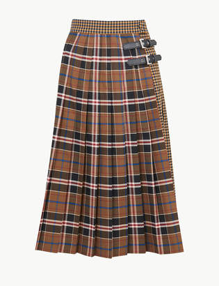 Marks and Spencer Checked A-Line Midi Skirt