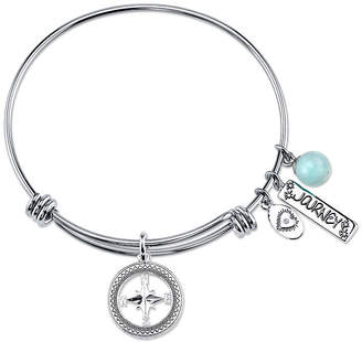 Footnotes Womens Green Amazonite Silver Over Brass Bangle Bracelet