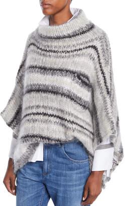 Brunello Cucinelli Turtleneck Striped Mohair-Wool Poncho