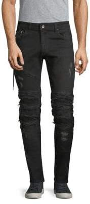 Moto Distressed Jeans