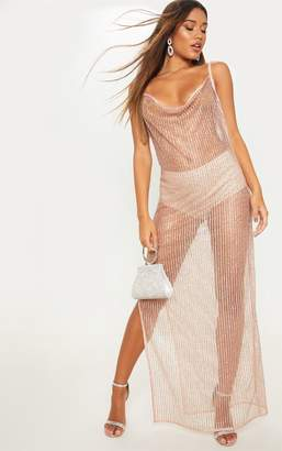 PrettyLittleThing Rose Gold Glitter Sheer Cowl Neck Maxi Dress