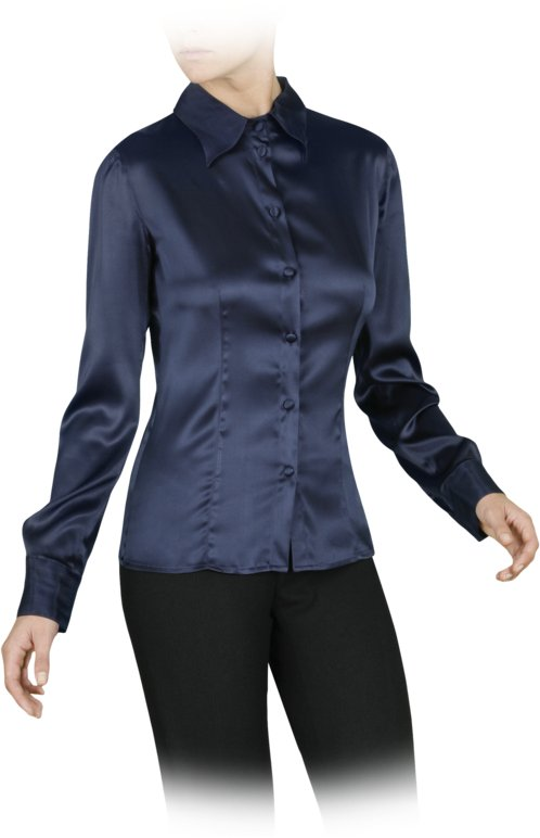 Long-sleeved stretch silk shirt
