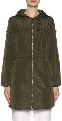 Moncler Luxembourg Hooded Ruffle-Trim Jacket