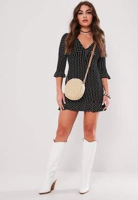 Missguided Black Polka Dot Print Frill Tea Dress